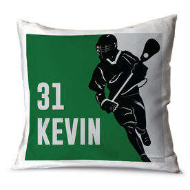Guys Lacrosse Throw Pillow Personalized Player Silhouette