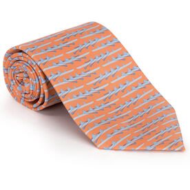 Crew Quad with Peach Web Silk Tie