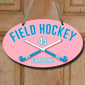 Field Hockey Oval Sign Personalized Field Hockey with Crossed Sticks