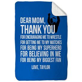 Wrestling Sherpa Fleece Blanket Dear Mom
