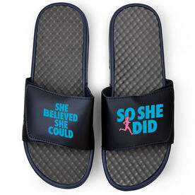 Running Navy Slide Sandals - She Believed She Could So She Did Text