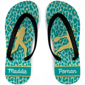 Softball Flip Flops Personalized Batter and Pitcher with Leopard Pattern