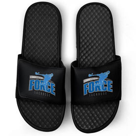 Guys Lacrosse Black Slide Sandals - Your Logo