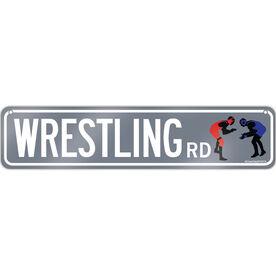 "Wrestling Aluminum Room Sign Wrestling Road (4""x18"")"