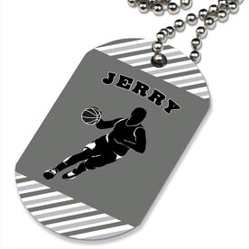 Basketball Printed Dog Tag Necklace Personalized Basketball Player Guy