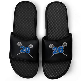 Guys Lacrosse Black Slide Sandals - Crossed Sticks with Number