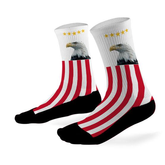 Hockey Printed Mid Calf Socks Bald Eagle