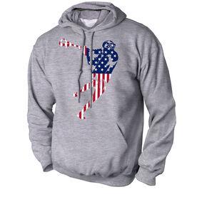Guys Lacrosse Standard Sweatshirt - American Flag Silhouette