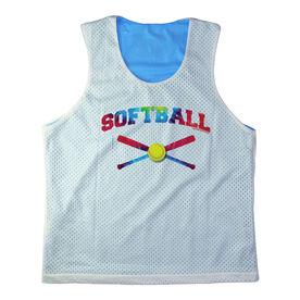 Girls Softball Racerback Pinnie Personalized Softball with Crossed Bats Rainbow