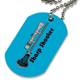 Lacrosse Printed Dog Tag Necklace Sharp Shooter