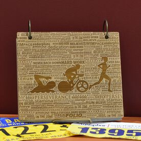 Engraved Bamboo Wood BibFOLIO Swim Bike Run Inspiration Female