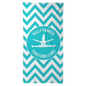 Cheer Beach Towel Personalized Silhouette with Chevron