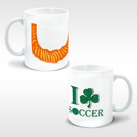 Soccer Ceramic Mug Leprechaun Beard I Shamrock