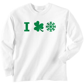 Skiing & Snowboarding Long Sleeve T-Shirt - I Shamrock Snow