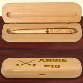 Personalized Field Hockey Crossed Sticks Wood Pen and Case