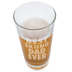 Skiing 20 oz. Beer Pint Glass Best Dad Ever