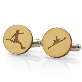 Soccer Engraved Wood Cufflinks Silhouettes