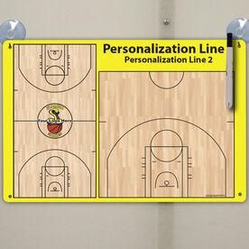 "Basketball Custom Dry Erase Coach Board Full And Half Court - 18"" X 12"""