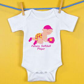 Softball Baby One-Piece Future Softball Player Girl