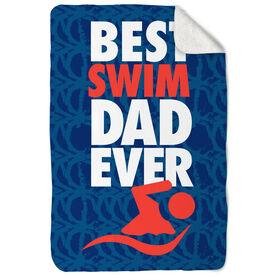 Swimming Sherpa Fleece Blanket Best Dad Ever