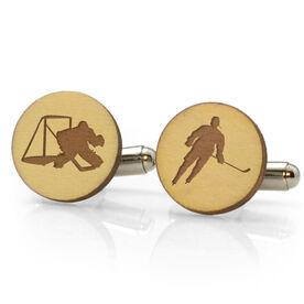 Hockey Engraved Wood Cufflinks Silhouettes