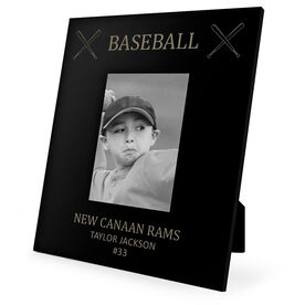 Baseball Engraved Picture Frame - Baseball & Crossed Bats