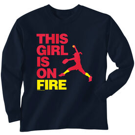 Softball Tshirt Long Sleeve This Girl Is On Fire Pitcher