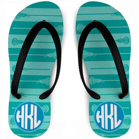 Girls Lacrosse Flip Flops Monogrammed Horizontal Stripe Pattern With Sticks