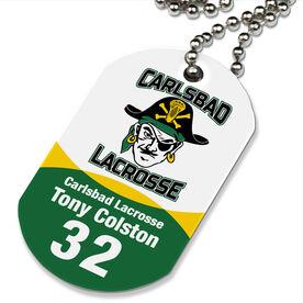 Lacrosse Printed Dog Tag Necklace Custom Team Color Logo