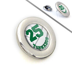 Volleyball Lapel Pin Team Name and Number Turned Volleyball