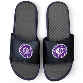 Volleyball Navy Slide Sandals - Monogram with Volleyball