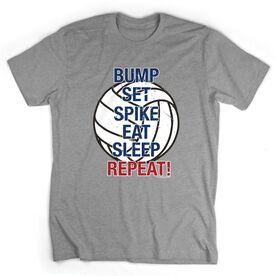 Volleyball T-Shirt Short Sleeve Bump Set Spike Eat Sleep Repeat