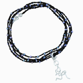 Basketball Beaded Wrap Bracelet with Silver Plated Basketball Girl (Stick Figure) Charm