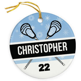 Guys Lacrosse Porcelain Ornament Personalized 2 Tier Patterns with Crossed Lacrosse Guy Sticks
