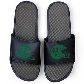 Football Navy Slide Sandals - Helmet Number