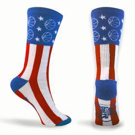 Basketball Woven Mid Calf Socks - Stars & Stripes (Red/White/Blue)