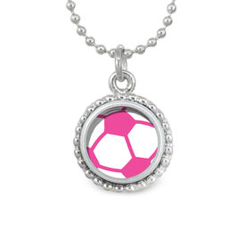 Pink Soccer Ball SportSNAPS Necklace