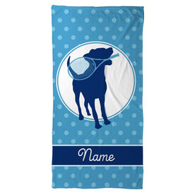 Tennis Beach Towel Personalized Dog with Racket