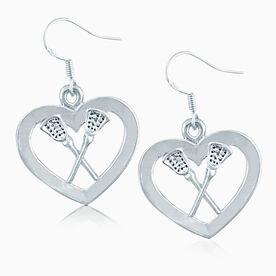 Silver Lacrosse Heart & Sticks Earrings