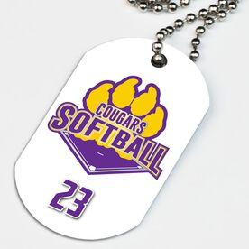 Softball Printed Dog Tag Necklace Custom Softball Logo with Team Number