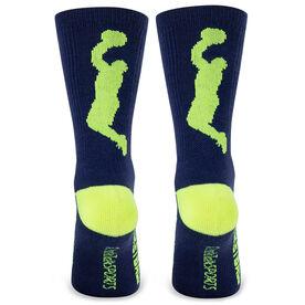 Basketball Woven Mid Calf Socks - Player (Blue/Neon Yellow)