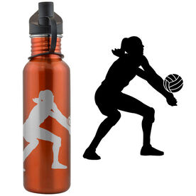 Volleyball Player Silhouette 24 oz Stainless Steel Water Bottle