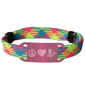 Figure Skating Lace Bracelet Peace Love Figure Skating Adjustable Sport Lace Bracelet