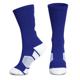Basketball Woven Mid Calf Socks - Player (Royal Blue/White)