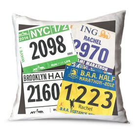Running Throw Pillow 4 Personalized Bibs