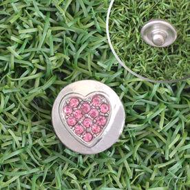 Heart Pink Rhinestone SportSNAPS Charm