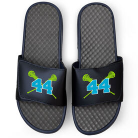 Girls Lacrosse Navy Slide Sandals - Crossed Sticks with Number