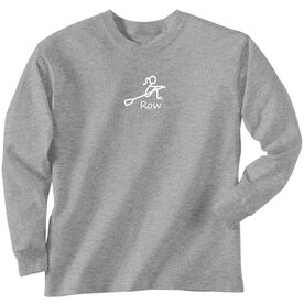 Crew Tshirt Long Sleeve Row Girl White Stick Figure with Word