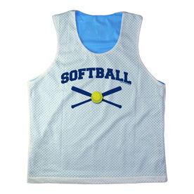 Girls Softball Racerback Pinnie Personalized Softball with Crossed Bats Navy