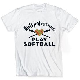 Softball Tshirt Short Sleeve Girls Just Wanna Play Softball with Glitter